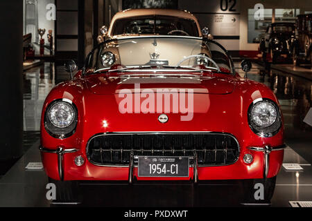 Shanghai Auto Museum exhibits a collection of vintage and modern automobiles, details and the device and development automotive industry. Exebition in Shanghai city of China. - Stock Photo