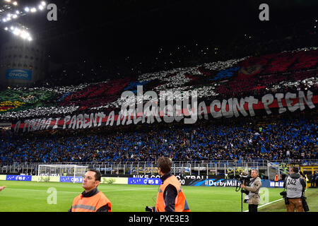 during the Serie A TIM football match between FC Internazionale Milano and AC Milan at Stadio Giuseppe Meazza on 21th October, 2018 in Milan, Italy. - Stock Photo