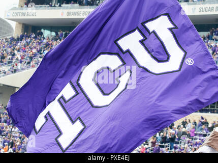 Waco, Texas, USA. 20th Oct, 2018. TCU Horned Frogs flag during the 1st half of the NCAA Football game between the Oklahoma Sooners and the TCU Horned Frogs at Amon G. Carter in Waco, Texas. Matthew Lynch/CSM/Alamy Live News - Stock Photo