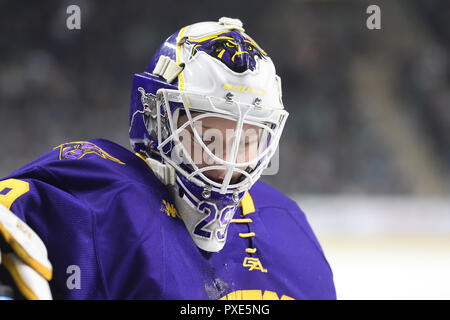 October 20, 2018 Minnesota State Mavericks goaltender Dryden McKay (29) during a NCAA men's college hockey game between the Minnesota State Mavericks and the University of North Dakota Fighting Hawks at Ralph Engelstad Arena in Grand Forks, ND. North Dakota won 4-3. Photo by Russell Hons/CSM - Stock Photo