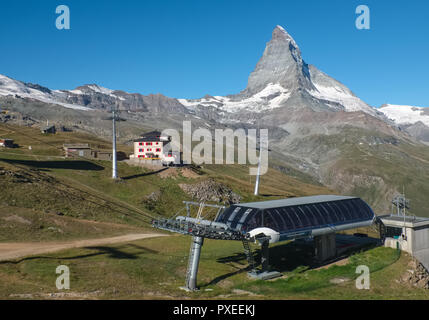 Hotels Riffelhouse, located at the foot of the famous Matterhorn, on Wednesday 24 August 2016, Zermatt, Switzerland. - Stock Photo