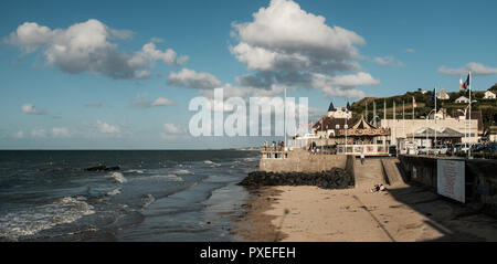 Beach of Arromanches, one of the landing beaches World War II,  Friday18 August 2017, Arromanches, France. - Stock Photo