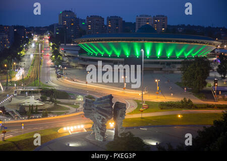 Katowice, Poland: illuminated multipurpose hall Spodek built in the shape of a flying saucer in the early seventies of the 20th century. The landmark - Stock Photo
