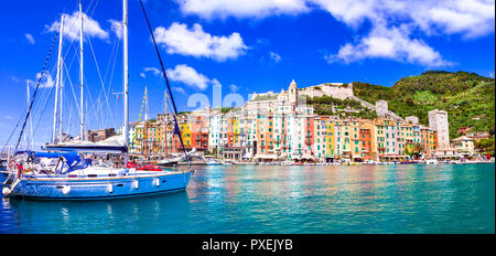 Beautiful Portovenere village,view with colorful houses,boats and sea,Cinque Terre,Liguria, Italy. - Stock Photo