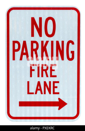 Isolated no parking fire lane sign on white background - Stock Photo