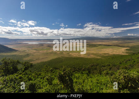 Ngorongoro Crater viewpoint, Tanzania - Stock Photo