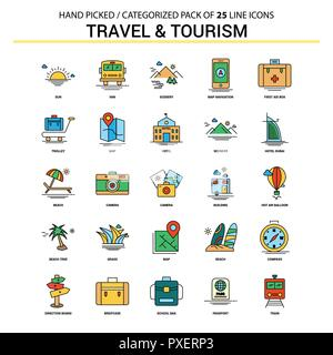 Travel and Tourism Flat Line Icon Set - Business Concept Icons Design - Stock Photo