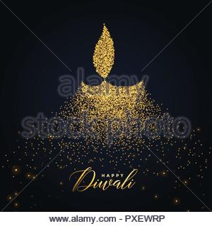 happy diwali diya design made with glowing particles - Stock Photo