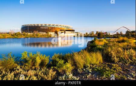 Wetlands beside Optus Stadium. Burswood, Perth, Western Australia