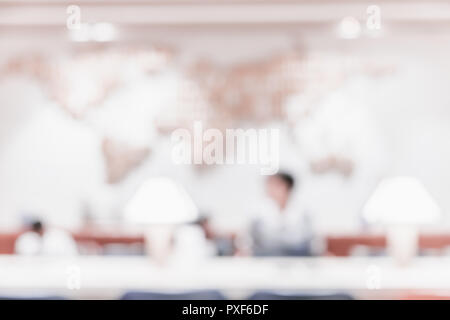 Blur background of people in business meeting room with world map on wall with bokeh light - Stock Photo