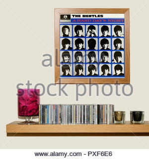 CD Collection and framed Beatles 1964 3rd album A Hard Day's Night, England - Stock Photo
