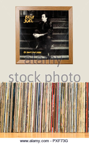 LP Collection and framed Billy Joel 1983 Album An Innocent Man, England - Stock Photo