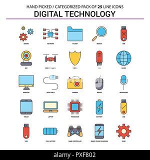 Digital Technology Flat Line Icon Set - Business Concept Icons Design - Stock Photo