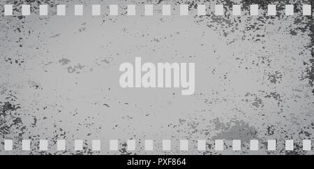 Gray grunge stained dirty film strip on squared background. Vector illustration - Stock Photo