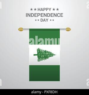 NJorfolk Island Independence day hanging flag background - Stock Photo