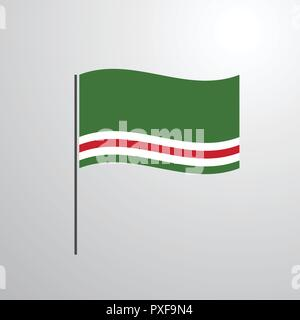 Chechen Republic of Lchkeria waving Flag - Stock Photo