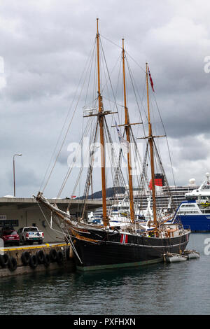 The Norwegian three masted schooner Svaneni n the port of Bergen, Norway. She was built in 1916 and sailed as a freighter. Now a training and museum s - Stock Photo