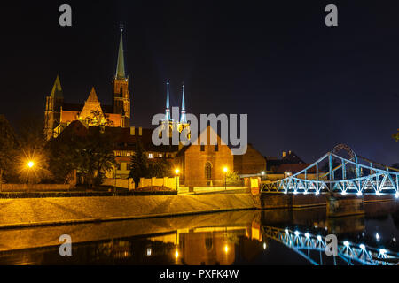 Night view of church of the Holy Cross and St Bartholomew and cathedral of saint john the baptist in Wroclaw, Poland - Stock Photo