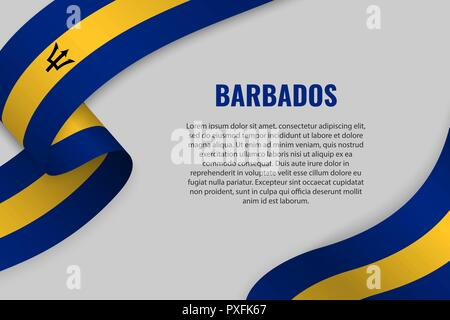 Waving ribbon or banner with flag of Barbados. Template for poster design - Stock Photo