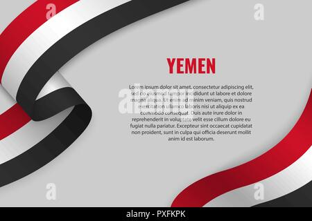 Waving ribbon or banner with flag of Yemen. Template for poster design - Stock Photo