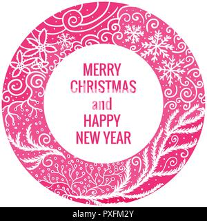 Card Merry Christmas and Happy New Year. Round frame hand drawn pink color ornaments. Vector illustration isolated on white background. - Stock Photo