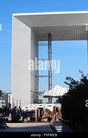 Paris, France - October 16, 2018: La Defense Business District, Parvis de la Défense, Beautiful View Of La Grande Arche De La Défense, Paris, France,  - Stock Photo