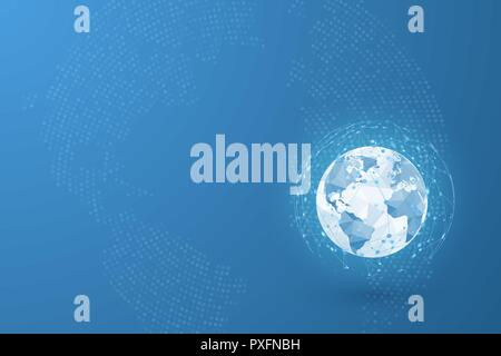 Global network. World map point and lines and triangles. Point connecting network. Vector Illustration on blue background - Stock Photo