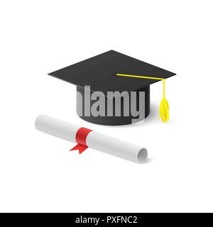 Realistic graduation hat and rolled diploma with red ribbon. Vector illustration isolated on white background - Stock Photo