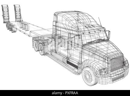 Low bed Truck Trailer. Abstract drawing. Tracing illustration of 3d - Stock Photo
