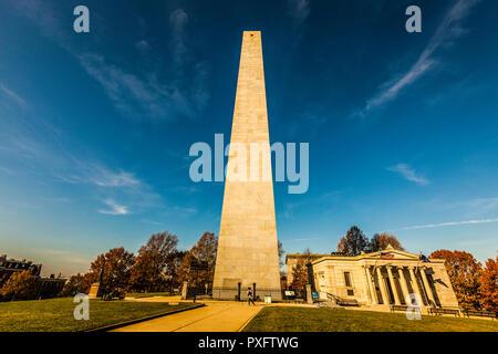 Bunker Hill Monument   Boston, Massachusetts, USA - Stock Photo