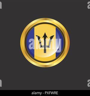 Barbados flag Golden button - Stock Photo