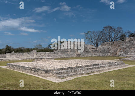 Ruins of the ancient Mayan city of Edzna near campeche, mexico - Stock Photo