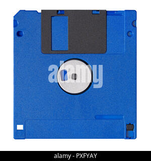 Standard blue floppy disk isolated on white background. Backside view. - Stock Photo