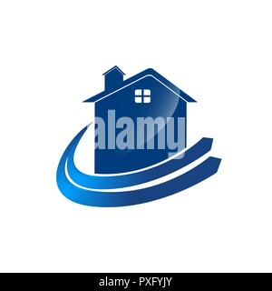 Check Home Logo template with blue color arrow swoosh - Stock Photo