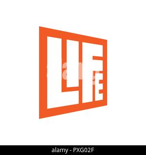 Square Lettering Life Logo template with orange color - Stock Photo