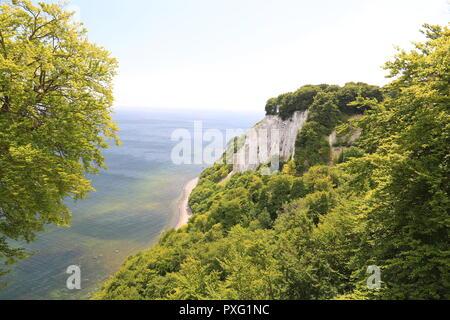 Chalk cliffs and blue sea in Ruegen island, Baltic Sea, Germany - Stock Photo