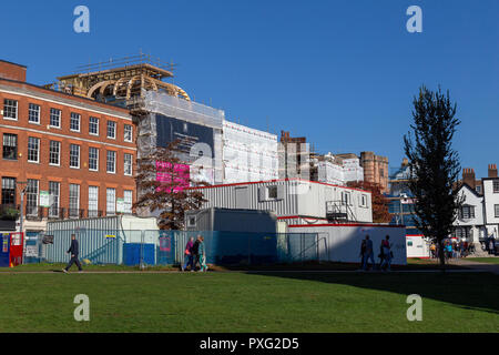 Exeter Cathedral yard- England, Architecture, Building Exterior, City, Devon, England,rebuilding Clarence hotel Exeter, - Stock Photo