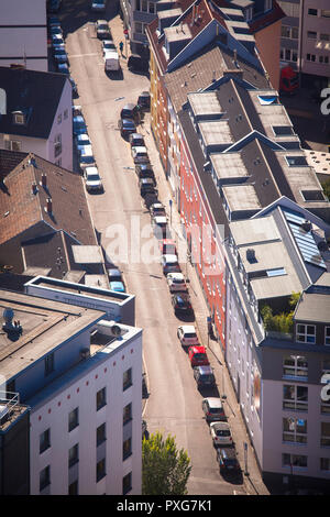 view from the Triangle Tower in the district Deutz to the Dueppel street, Cologne, Germany.  Blick vom Triangle Tower in Deutz in die Dueppelstrasse,  - Stock Photo