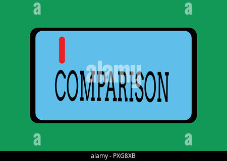 Conceptual hand writing showing Comparison. Business photo showcasing Estimate similarities dissimilarities between two things showing. - Stock Photo