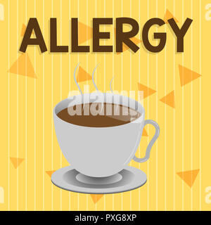 Handwriting text Allergy. Concept meaning Hypersensitive of the immune system towards particular substance. - Stock Photo