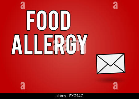 Handwriting text Food Allergy. Concept meaning Immune system reaction that occurs after eating a certain food. - Stock Photo