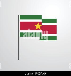 Suriname waving Flag design vector - Stock Photo