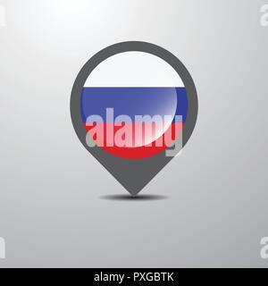 Russia Map Pin - Stock Photo