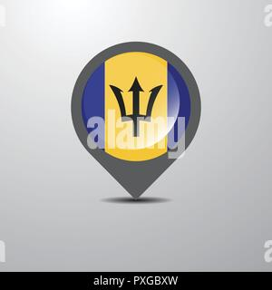 Barbados Map Pin - Stock Photo