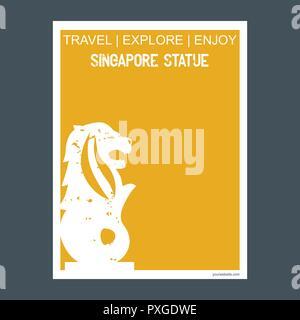 Singapore Statue, Singapore monument landmark brochure Flat style and typography vector - Stock Photo