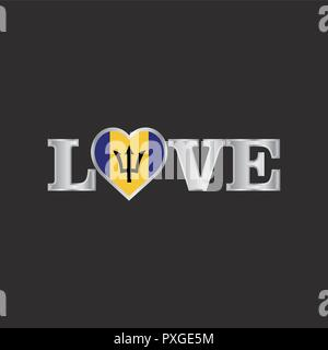 Love typography with Barbados flag design vector - Stock Photo
