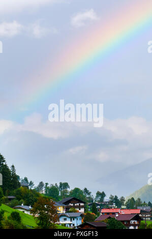 Rainbow Photographed in Neustift im Stubaital, Tyrol, Austria - Stock Photo