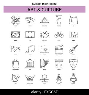 Art and Culture Line Icon Set - 25 Dashed Outline Style - Stock Photo