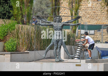 Madatech, Israeli National Museum of Science Technology and Space, Haifa, Israel. Vitruvian Man sculpture, - Stock Photo
