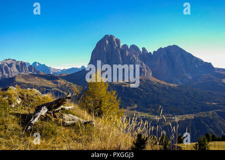 Amazing autumn view of the 'Langkofelgruppe' in Val Gardena, Südtirol, Italy - Stock Photo